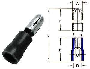 Bullet-Male Quick Disconntors-PVC Insulated